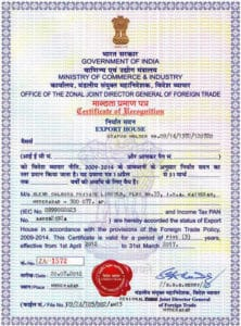 Govt. Recognised export house certificate